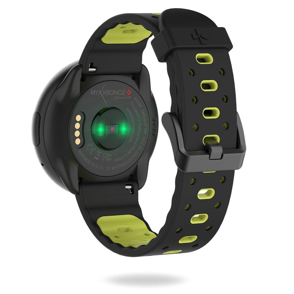 MyKronoz ZeRound2HR Premium - Smartwatch con Monitor de Ritmo cardíaco, micrófono Incorporado y Altavoz, Color Amarillo y Negro