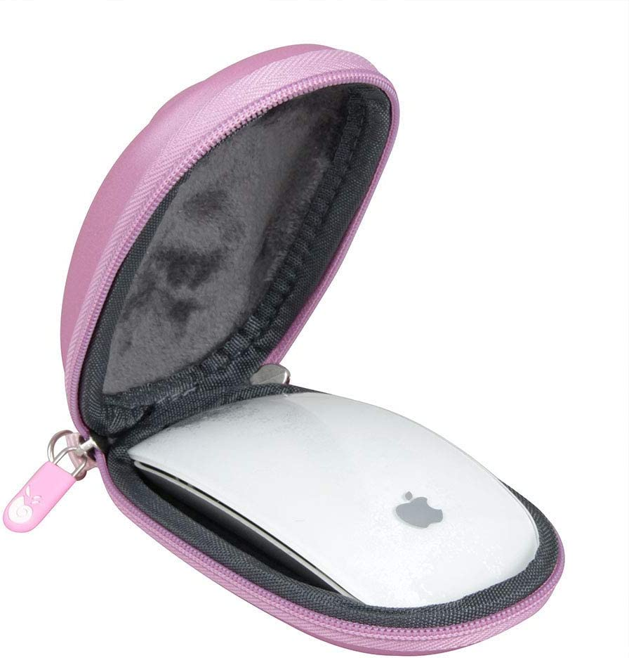 Hermitshell Hard EVA Storage Carrying Case Bag Fits Apple Magic Mouse (I and II 2nd Gen) and Carabiner (Pink)