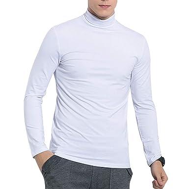 Pull Homme col Montant Slim fit Doux Le sous Pull uni en Modal et Coton mercerisé T Shirt Manches Longues