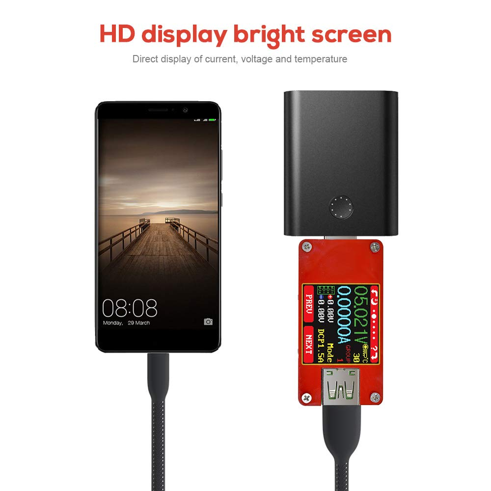 diymore USB 2.0 Multifunktionstester UT25 Voltmeter Amperemeter Tester Typ C Farbe TFT LCD Digital Strom Monitor Kabel Widerstand Akku Kapazit/ät Ladeger/ät Ersatz UM24