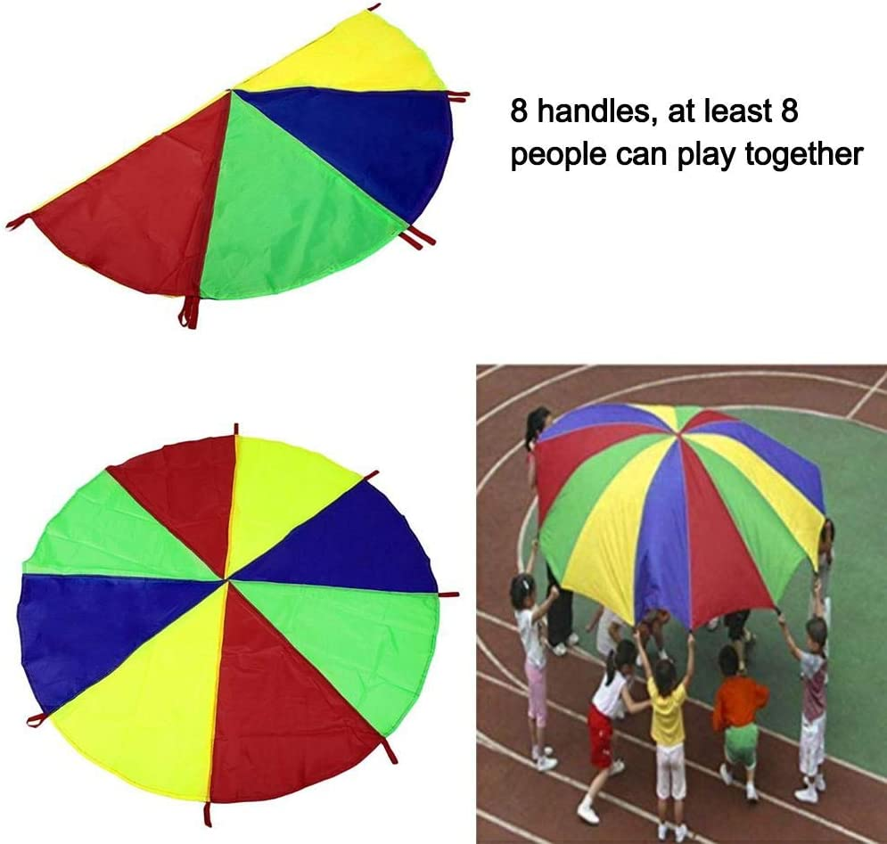 Sanmubo Rainbow Umbrella Childrens Game Parachute Rainbow/Parachute with 16 Handles for Kids Cooperation Group Play Play Parachute for Kids Rotating Rainbow