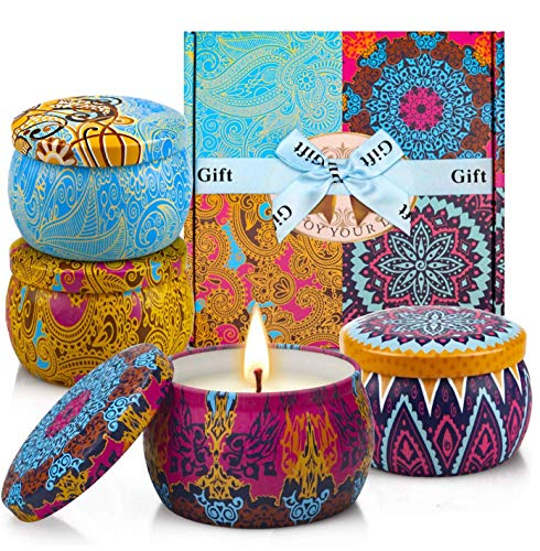 YMing Scented Candles Gift Set, Natural Soy Wax Aromatherapy Candles, Portable African Style Travel Tin Candle, Gift for Women Yoga Honeymoon Birthday(Spring, Lavender, Lemon, Fig Fragrances)