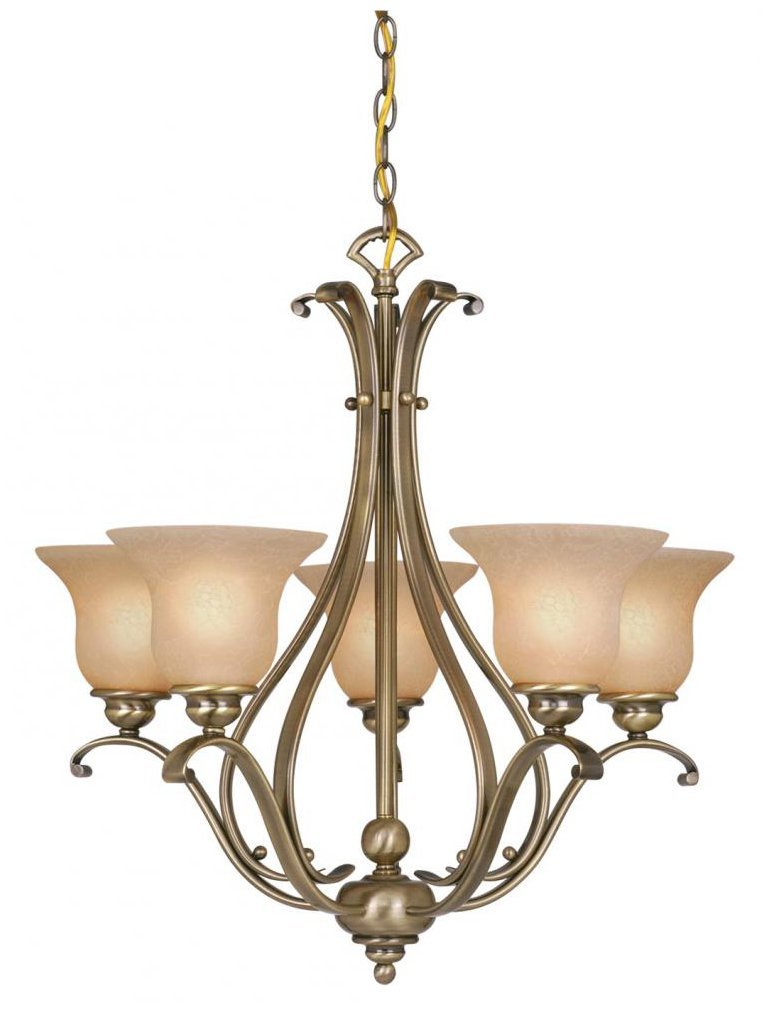 Vaxcel USA CH35405AC Monrovia 5 Light Transitional Chandelier Lighting Fixture in Brass, Glass