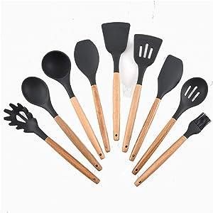 Home Kitchen Utensils Silicone Cooking Kitchen Utensils Environmentally Friendly Cooking Kitchen Utensils Kitchen Gadgets (9, Black-Grey)