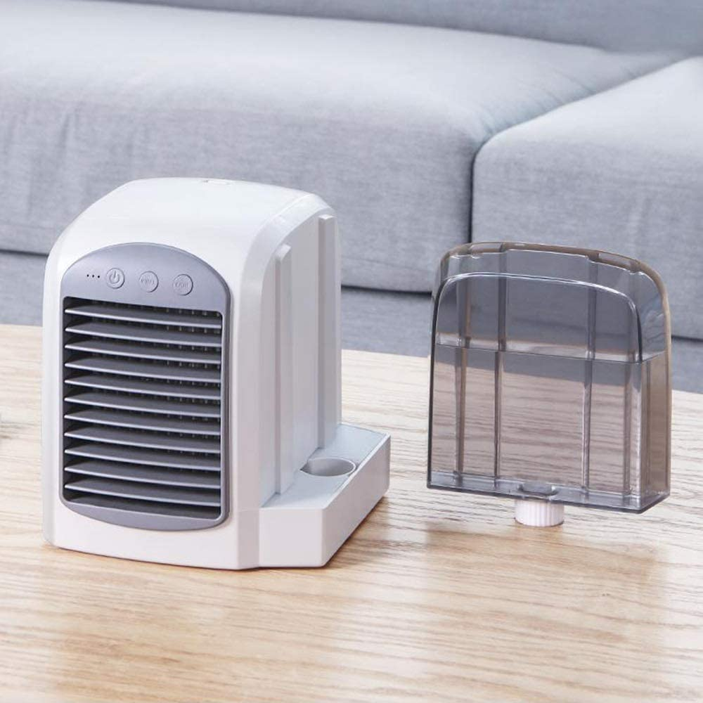 Mini Portable Cooling Fan Water-Cooled Small Fan Mini Air Cooler Household USB Desktop Air Conditioning Fan Color : Blue