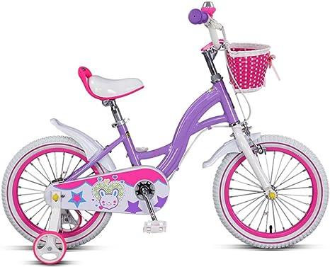 QXMEI Bicicleta para Niños 14/16 Pulgadas Marco De Aluminio Niño Y Niña 3-4-5-6-8 Años para Niños Bicicleta con Ruedas De Entrenamiento,Purple-16Inches: Amazon.es: Deportes y aire libre