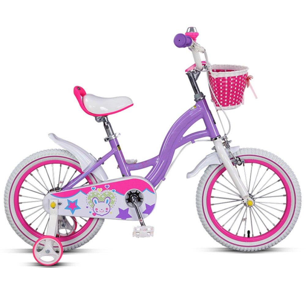 QXMEI Bicicleta para Niños 14/16 Pulgadas Marco De Aluminio Niño Y Niña 3-4-5-6-8 Años para Niños Bicicleta con Ruedas De Entrenamiento,Purple-16Inches