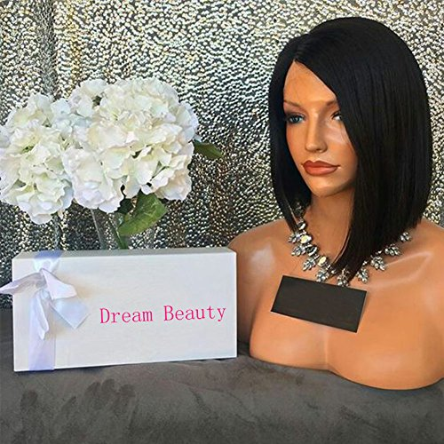 Human Hair Straight 100% Real Hair Brazilian Hair Glueless Lace Front Wig Size:8Inch (Black Long Wig With Two Braids)