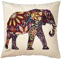 "Generic Bright Color Flower Elephant Burlap Pillow Cases Cushion Covers, 18"" x 18"""