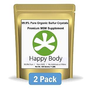 HappyBody Organic Sulfur Crystals - 99.9% Pure MSM, Premium MSM Supplement