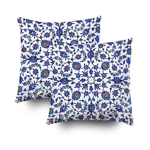 EMMTEEY Home Decor Throw Pillowcase for Sofa Cushion Cover,Ancient Handmade Turkish Floral Tiles Decorative Square Accent Zippered and Double Sided Printing Pillow Case Covers 20X20Inch,Set of 2