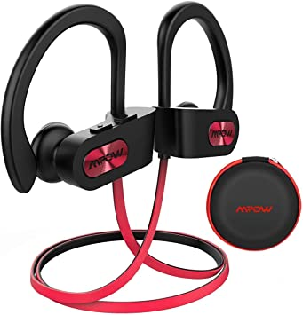 Amazon Com Mpow Flame Bluetooth Headphones W Case Bt5 0 Ipx7 Sweatproof Wireless Earphones W Richer Bass 8h Playtime Wireless Headphones W Cvc6 0 Noise Cancellation Mic Bluetooth Earphones Red Electronics