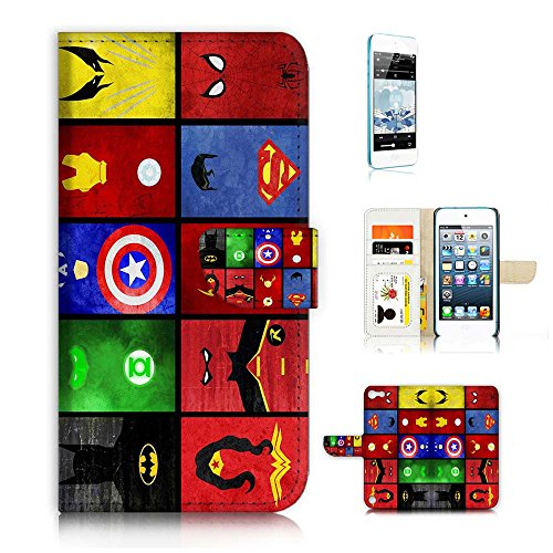 ( For iPod Touch 5 iTouch 5 ) Flip Wallet Case Cover & Screen Protector Bundle! A0139 Superman Batman Wonder Woman Spiderman Super Hero Collection A0139