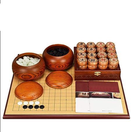 SSCEEL Go, Juego de ajedrez Chino, Tablero de ajedrez Grueso de Doble Cara, Piezas de ajedrez de Madera Maciza: Amazon.es: Hogar