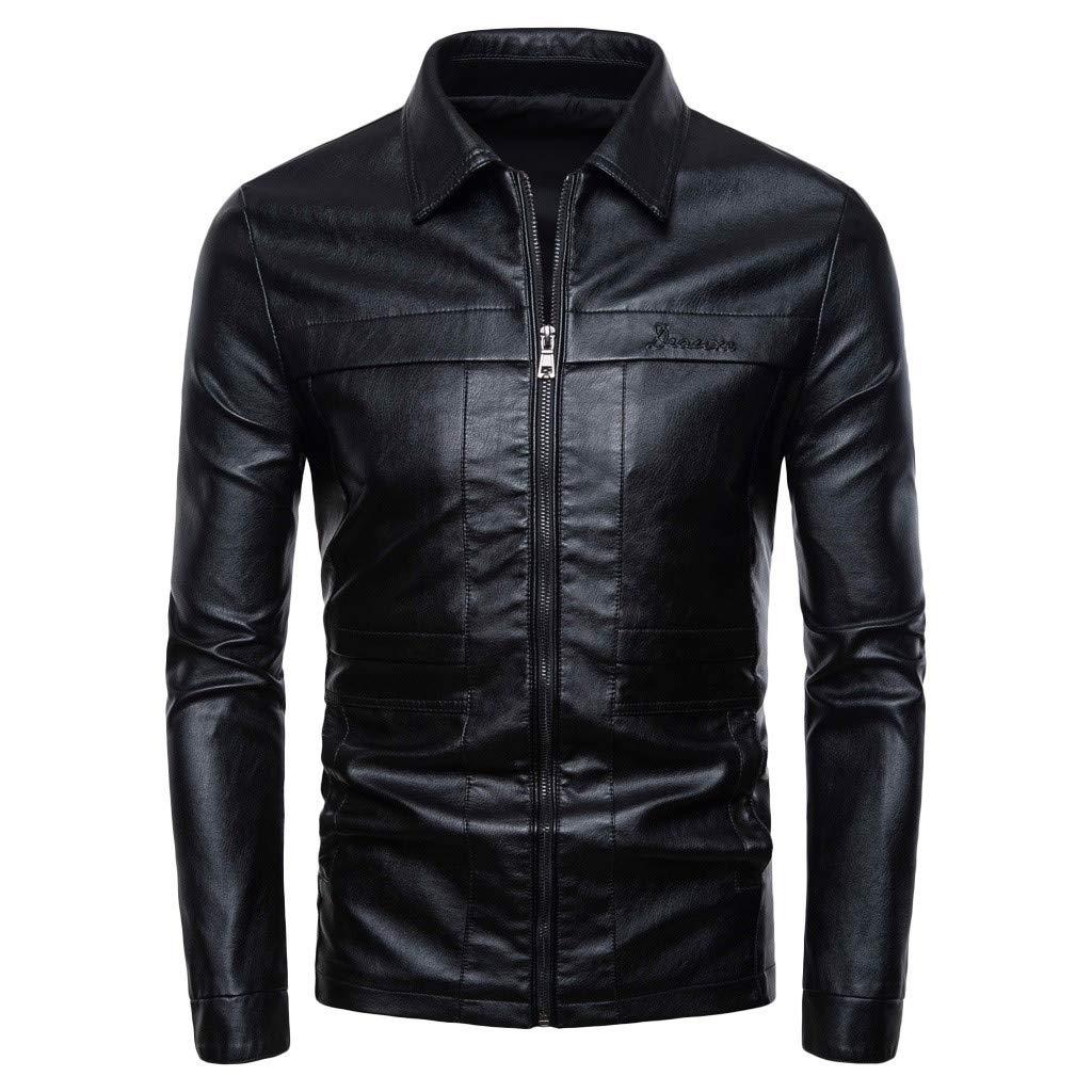 Wenini Men's Autumn Winter New Retro Turn-Down Solid Collar Leather Jacket Biker Motorcycle Zipper Outwear Coat Top by Wenini