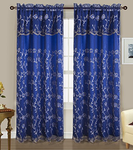 RT Designers Collection Easton Embroidered 54 x 84 in. Rod Pocket Curtain Panel w/ Attached 18 in. Valance, ()