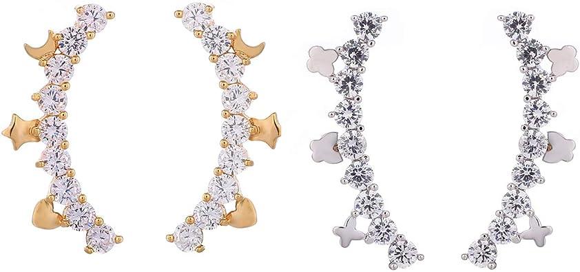 Hanpabum 4Pairs Ear Climber Earrings CZ Ear Crawler Earrings Sliver//Rose Gold Plated Flower Ear Cuff