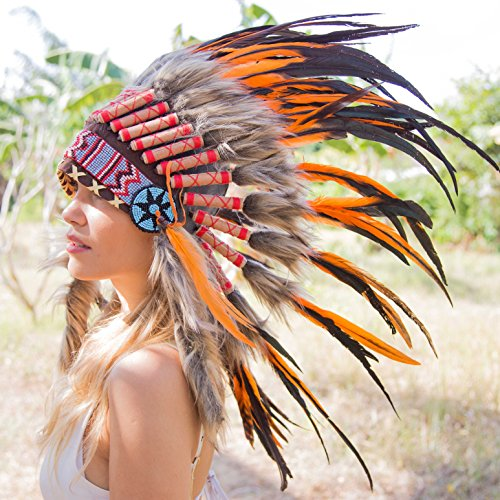 Novum Crafts Feather Headdress   Native American Indian Inspired   Orange