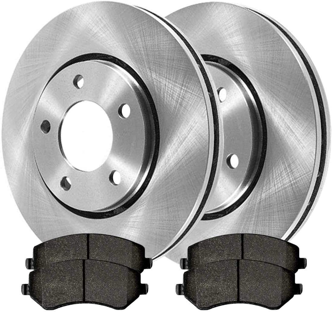 Front Disc Brake Rotors /& Ceramic Pads w//Hardware Replacement for 2001-2007 Dodge Caravan// 2001-2005 Grand Caravan// 2003-2007 Town /& Country Detroit Axle Models w//Rear Drum Brakes