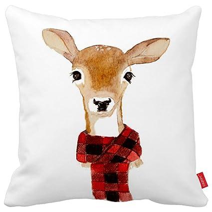 Amazon Cazzpc Cushion Cover Moose Antlers Deer Giraffe Print