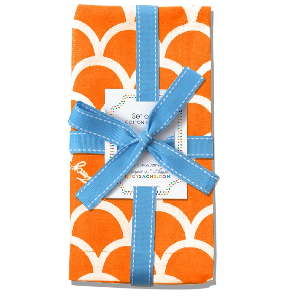 Tracy Sachs Orange Wave Napkins – Set of 4 Premium Table Cotton Linens for The Dining Room or Outside Party – Reusable Washable Fabric – Orange, White. Fun Summer Pattern.