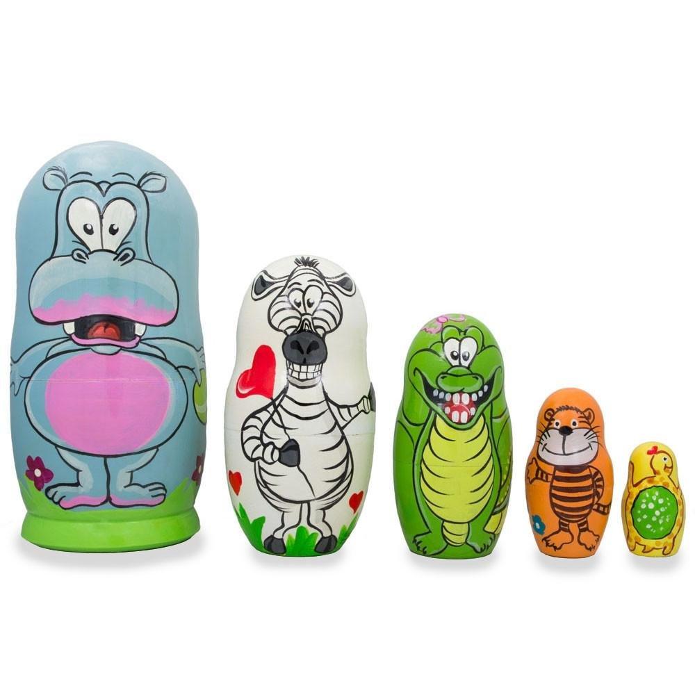 BestPysanky Set of 5 Hippo, Zebra and Tiger Wooden Animal Nesting Dolls 6 Inches by BestPysanky