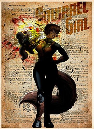 Squirrel Girl art print, superhero splatter style art