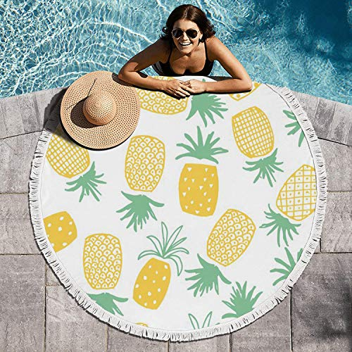 SHITYTRGNXC 60 Inch in Diameter Pineapple Print Seamless Pattern Beach Towel Circular Beach Towel Blanket Tassels Ultra Boho Sand Free Mandala Rugs Tapestries Sofa Cover Perfect for Wrap Around