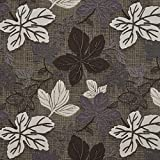 A396 Brown Silver And Ivory Large Leaves Textured Metallic Upholstery Fabric By The Yard