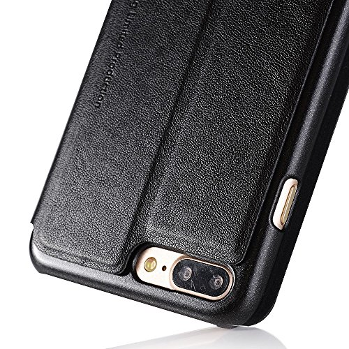 SULADA Answer/Reject Dual View Window Leather Mobile Tasche Hüllen Schutzhülle - Case für iPhone 7 Plus 5.5 - schwarz