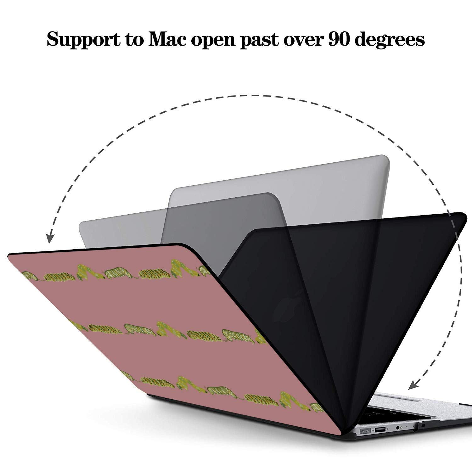 MacBook Accessories Small Cute Cartoon Reptile Silkworm Plastic Hard Shell Compatible Mac Air 11 Pro 13 15 Computer Cover Protection for MacBook 2016-2019 Version