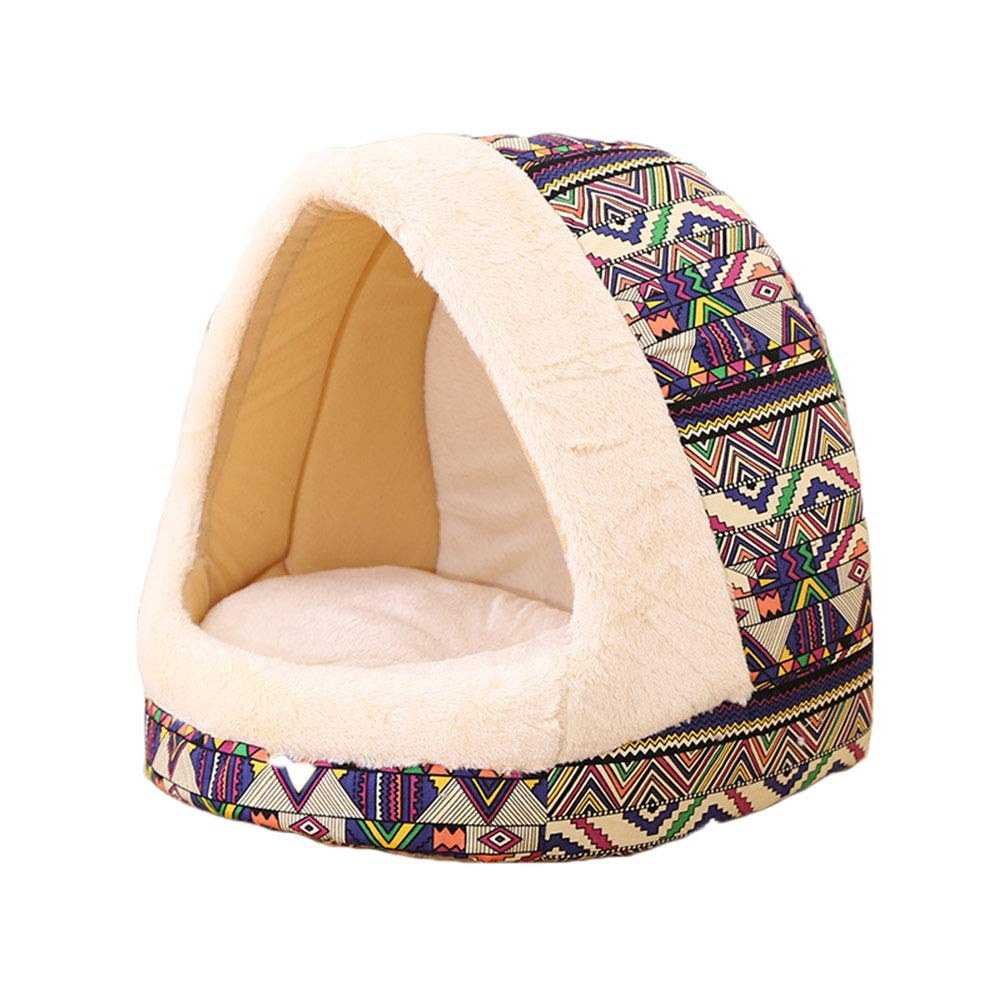 Purple 353937cm Purple 353937cm Winter Pet Bed colord Dot Pattern Stripes Cute Pet Wool Bed Puppy Cat Sleeping Igloo House Non-Slip Warm Washable,Purple,35  39  37cm