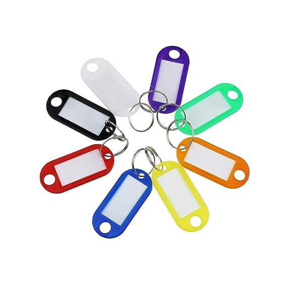 160/pezzi 8/colori assortiti plastica targhetta chiave Fobs ID etichette con split portachiavi