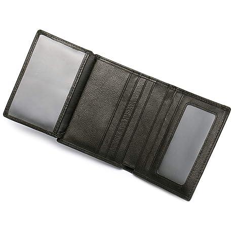 a7b74c0f2e Portafoglio da Uomo Piccolo e Sottile in Liscia Vera Pelle per Tasca  Frontale con Porta Carte