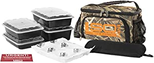 Small Meal Prep Lunch Bag ISOMINI 2 Meal Insulated Lunch Bag Cooler with 4 Stackable/Reusable Meal Prep Containers, 1 Ice Pack ISOBRICK, and 1 Shoulder Strap - Made in USA (Mossy Oak Blades)