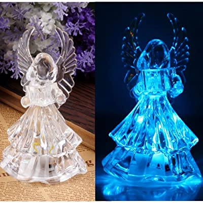 Gleader7 Colors Changing Crystal LED Christmas Angel Decoration Night Light Lamp Gift
