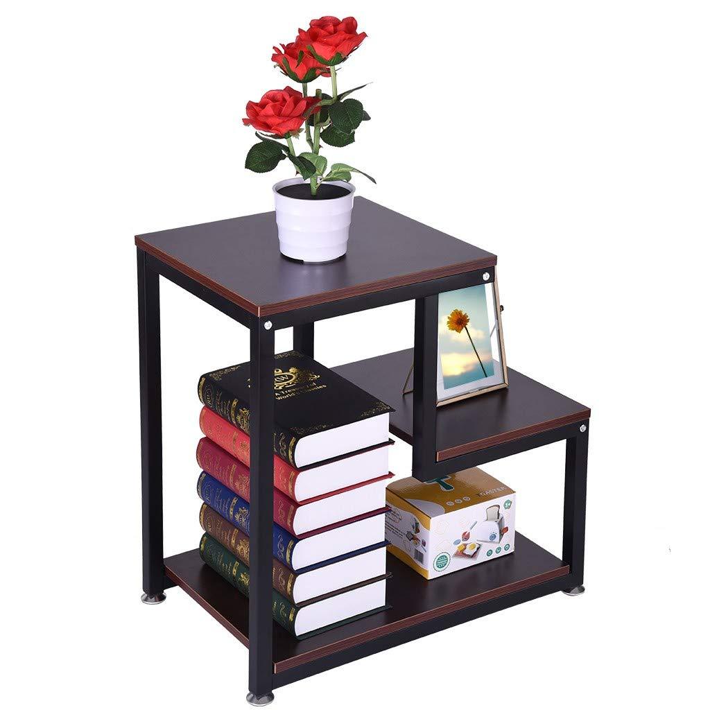 Rigel7 工業用ナイトスタンド 素朴なエンドテーブル 3段 椅子サイド 便利なテーブル ナイトスタンド 収納棚付き リビングルーム 寝室 ホーム   B07TG8QM64