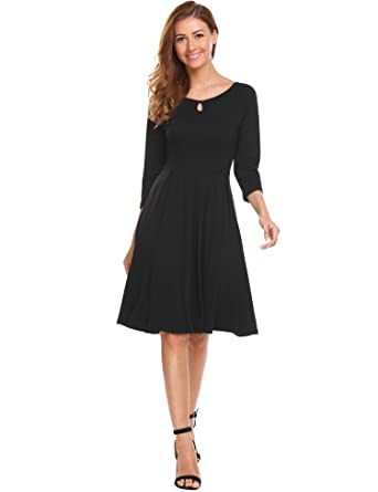 HOTOUCH Womens 3/4 Sleeve Loose Casual Junior Dresses Fit and Flare Midi Dress Black