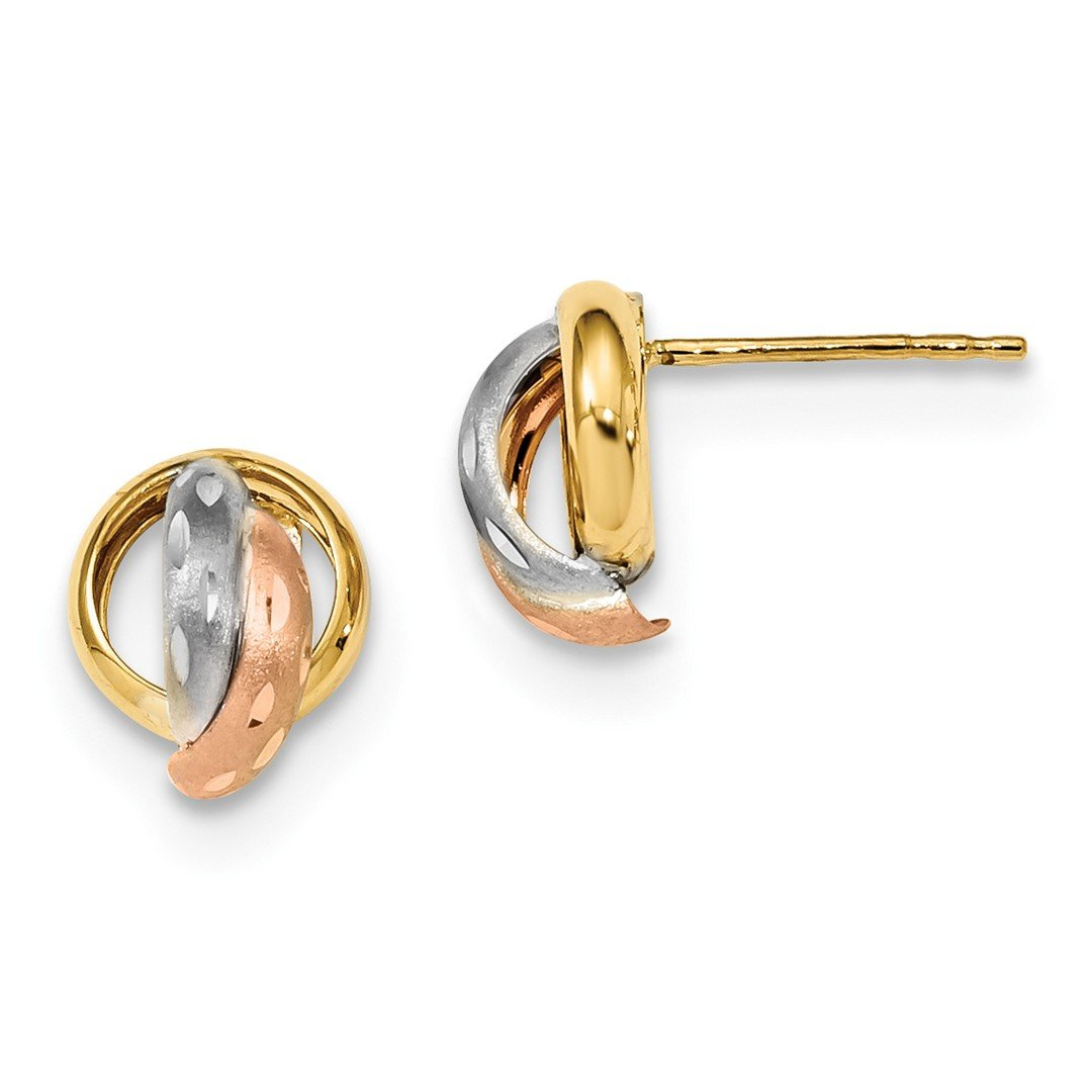 ICE CARATS 14k Two Tone Yellow Gold White Post Stud Ball Button Earrings Fine Jewelry Gift Set For Women Heart