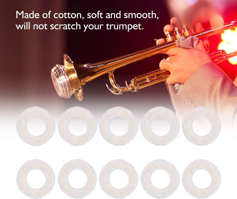 10 Pcs Cotton Trumpet Felt Pads Trumpet Valve Felt Pads for Transport Fixing Keys for Storage Protecting Keys