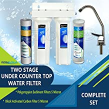 Premium Under Sink Direct Connect Two Stage Water Filtration System with 100% lead-free Chrome faucet -Removes Chlorine, Bad Tastes, Odors And 99.99% of Contaminants