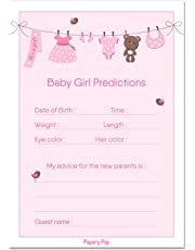 30 Baby Shower Prediction and Advice Cards for The Baby Girl - Baby Shower Games Decorations Activities Supplies Invitations
