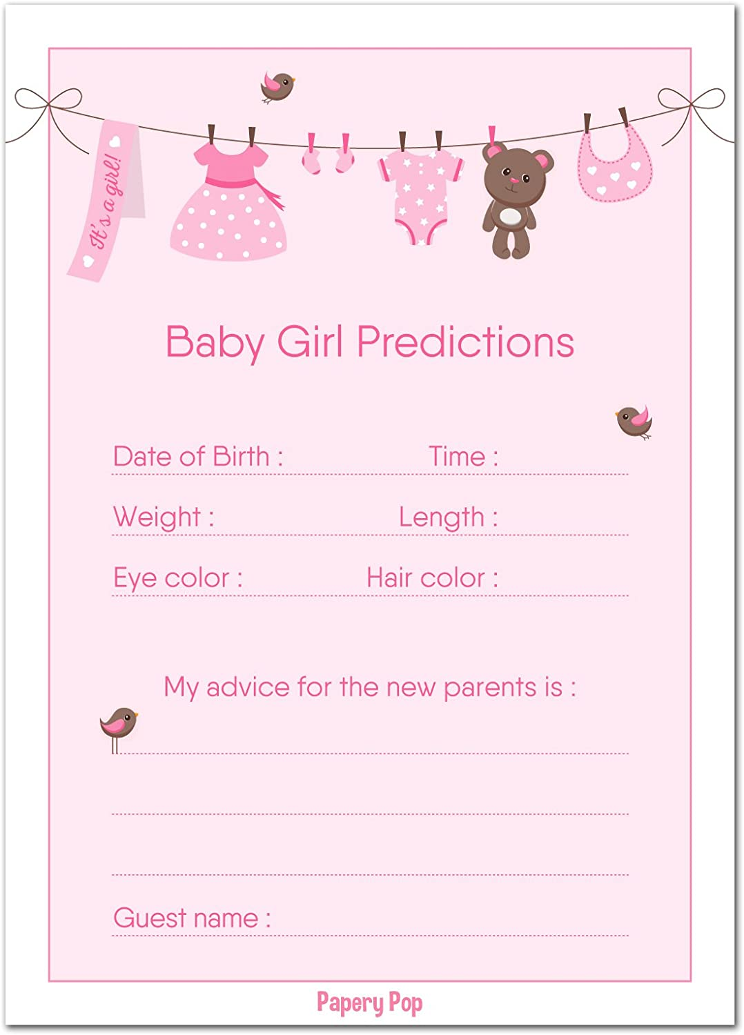 30 Baby Shower Prediction and Advice Cards for The Baby Girl - Baby Shower Games Decorations Activities Supplies Invitations Papery Pop
