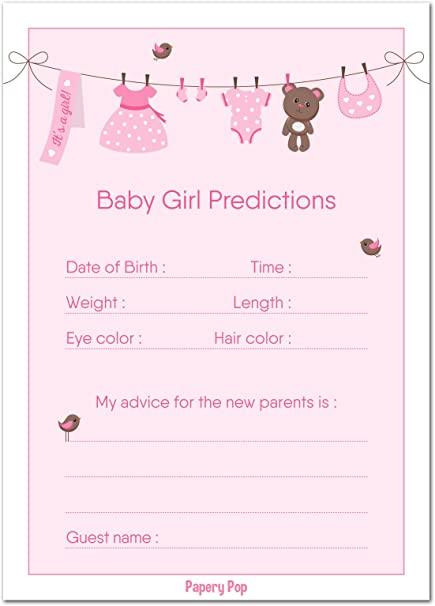 Amazoncom 30 Baby Shower Prediction And Advice Cards For The Baby