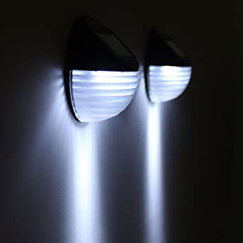 Lámpara solar de pared para valla con 2 LED de control de luz para jardín en casa: Amazon.es: Iluminación