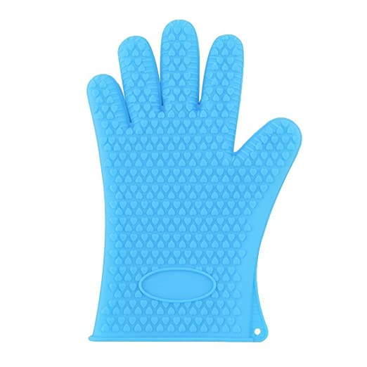 Sunams Oven Gloves - Silicone Baking & Bbq Insulated Gloves (1 Pair: 2 Gloves, Colour: Blue)