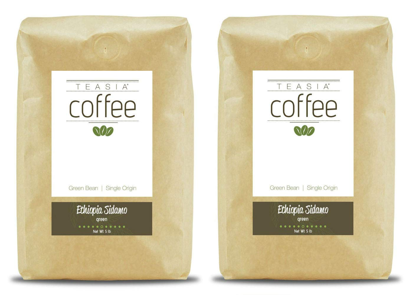 Teasia Coffee, Ethiopia Sidamo, Single Origin Fair Trade, Green Unroasted Whole Coffee Beans, 5-Pound Bag (2-Pack)