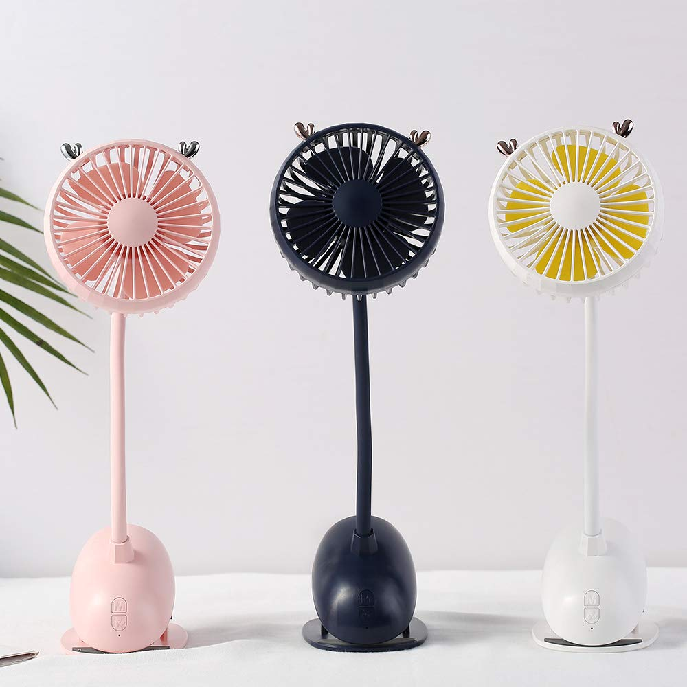 White Aisence USB Portable Clip On Stroller Fan,3 Speeds Flexible Bendable Mini Personal Desk Electric Fans