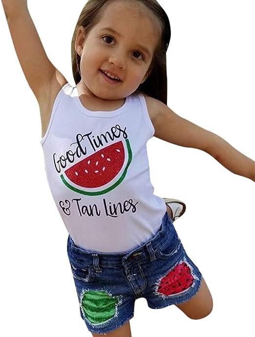 Kids Baby Girls Watermelon Print Sleeveless Vest Tops+Denim Shorts Jeans Outfits
