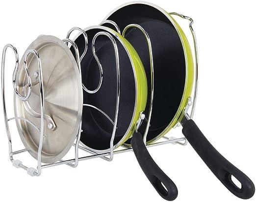 Accesorios de Cocina para Ahorrar Espacio de almacenaje Color Bronce MetroDecor mDesign Soporte para sartenes ollas y Tapas Organizador de tapaderas Compacto de Metal para armarios de Cocina
